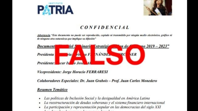 Viral en WhatsApp: es falso el supuesto documento confidencial del Instituto Patria
